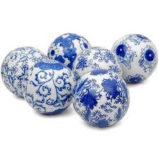 Floral Design Decorative Ball Sculpture (Set of 6)