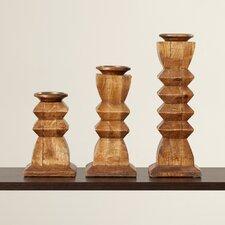 3 Piece Wood Candlestick