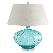 "Samaniego Recycled Fluted Glass Urn 25"" H Table Lamp"