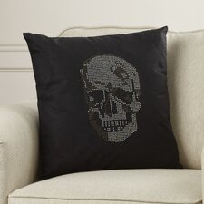 Bridgnorth Rhinestone Skull Suedette Throw Pillow