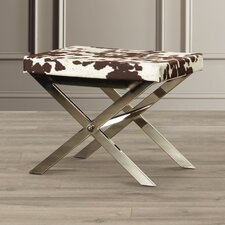 "Campbell Cow Hide Print ""X"" Vanity Stool"