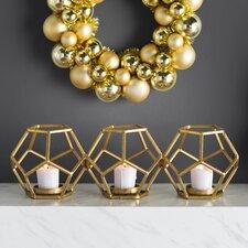 Sparkling Gold Metal Votive (Set of 3)