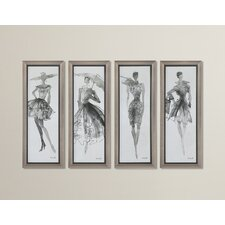 Fashion Sketchbook Art 4 Piece Framed Graphic Art Set