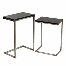 Preston 2 Piece Iron/Stone End Table Set