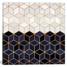 White and Navy Cubes Graphic Art on Wrapped Canvas