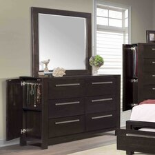 Lakelyn 6 Drawer Combo Dresser with Mirror