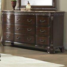 Victoria 9 Drawer Marble Top Dresser