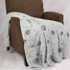 Embroidered Ribbon Faux Fur Throw