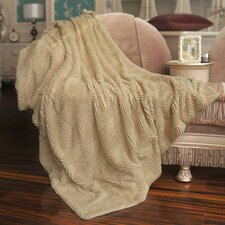 Herringbone Faux Fur Throw Blanket