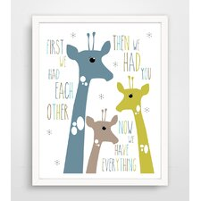 First We Had Each Other Blue Giraffe Paper Print