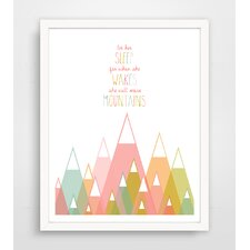 'Let Her Sleep for When She Wakes She Will Move Mountains' Pink Paper Print