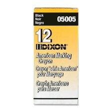 "Marking Crayons, Nontoxic, 5""x9/16"", Wax, Black (Set of 2)"