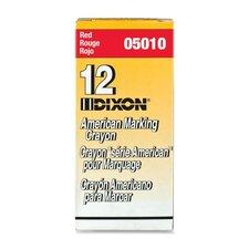 "Marking Crayons, Nontoxic, 5""x9/16"", Wax, Red (Set of 2)"