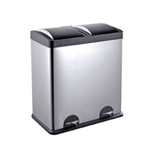 16-Gal. 2-Compartment Stainless Steel Trash and Recycling Bin