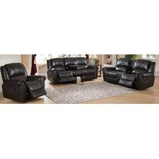 Charlotte 3 Piece Leather Recliner Living Room Set