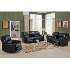 Houston 3 Piece Leather Recliner Living Room Set