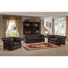 Kensington Top Grain Leather Chesterfield Sofa, Loveseat, and Chair Set