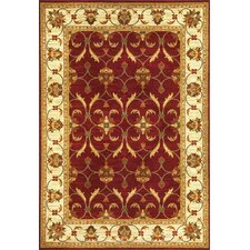 Lifestyles Red/Ivory Agra Area Rug