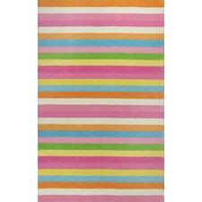 Kidding Around Chic Pink Stripes Area Rug