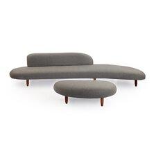 Kidney Bean Mid Century Modern Sofa and Ottoman Set