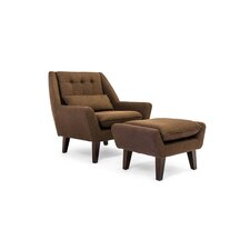 Stuart Mid Century Modern Lounge Chair and Ottoman