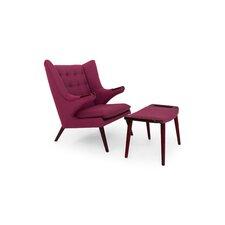 Wegner Papa Bear Wing Arm Chair and Ottoman