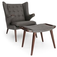 Bear Wegner Papa Wing Arm Chair and Ottoman