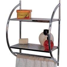 Wall Mounted Double Shelf Bath Towel Rack