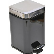 0.8-Gal Square Metal Step Trash Can Stainless Steel Lid