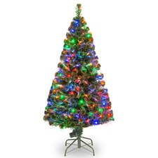 5' Green Artificial Christmas Tree with 150 Multicolor LED Lights with Stand