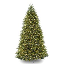 Fir 10' Hinged Green Artificial Christmas Tree with 1200 Clear Lights