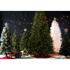 4.5' Hinged Green Artificial Christmas Tree with 450 Multicolored Lights