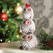 Lighted Holiday Hoot Owl Totem Statuary