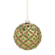 Emerald and Gold Glass Ball Ornament