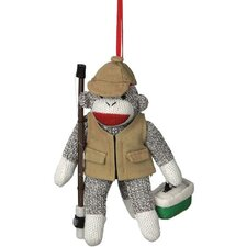 Sock Monkey Fisherman Ornament