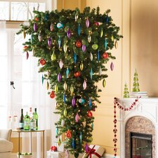 7.5' Green Upside Down Artificial Christmas Tree with Clear Light