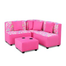 Kids Sectional and Ottoman with Cup Holder