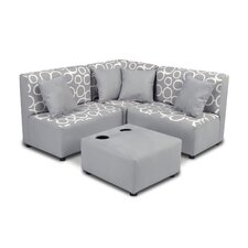 Kids Cotton Sectional and Ottoman with Cup Holder