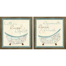 """Blue Bath Time"" by SD Graphics Studio 2 Piece Framed Graphic Art Set"