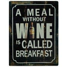 Schild A Meal Without Wine, Typografische Kunst