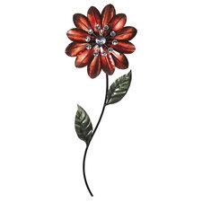 Flower with Stem & Leaves Metal Wall Décor