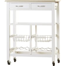 Hansom Kitchen Cart with Wood Top