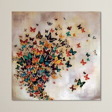 Butterflies on Pale Ochre Canvas Wall Art