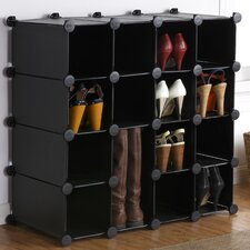 Interlocking 16-Compartment Shoe Rack