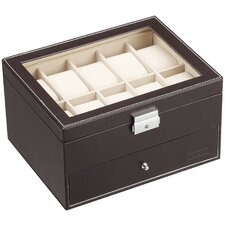Faux Leather Watch and Cufflink Display Jewelry Box