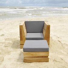 Pacific Arm Chair and Ottoman with Cushion