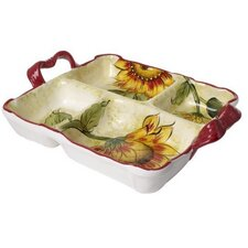 Original Cucina Italiana Sunflower 4 Section Divided Serving Dish
