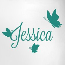 Personalised First Name with Three Butterflies Door Room Wall Sticker