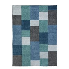Spaces HomeBeyond© Blue Blocks Area Rug