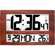 Jumbo Atomic Wall Clock with 6 Time Zones, Indoor Temperature, Date and Stand